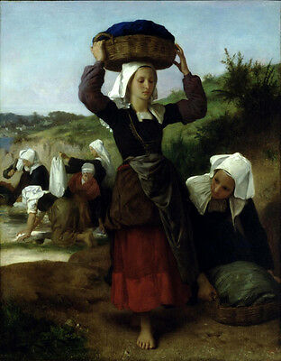 Stunning Oil painting Bouguereau Busy Washerwomen of Fouesnant by river canvas