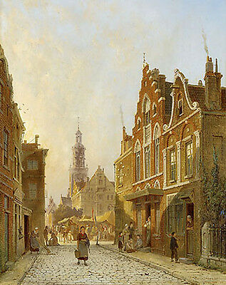 Art Oil painting old town landscape Netherlands Holland Street View with church