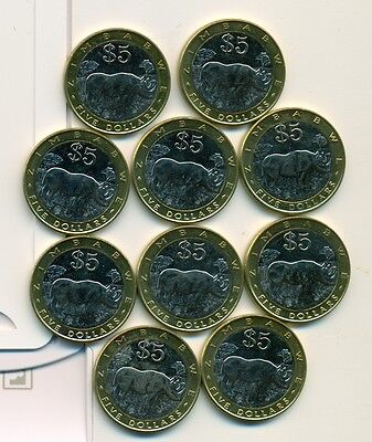 From Show Inv. - 10 UNC. BI-METAL 5 DOLLAR COINS w/ RHINO..ZIMBABWE..ALL 2002