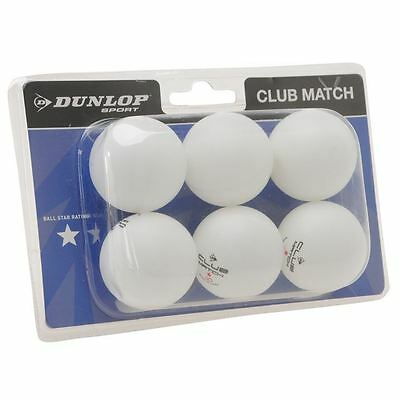 Dunlop Unisex Club Match Table Tennis Balls 6 Pack One Star Ping Pong Sports