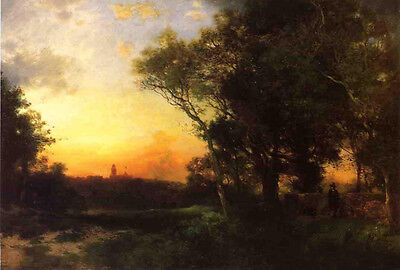 Nice Oil painting Thomas Moran - Mexican Landscape near Cuernavaca at sunset