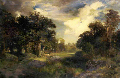Nice Oil painting Thomas Moran - Long Island Landscape with Lush trees on canvas