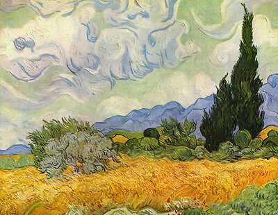 Beautiful Oil painting Vincent Van Gogh - wheat field with cypresses canvas
