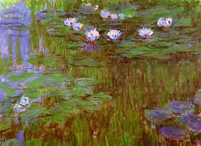 Stunning art Oil painting Claude Monet - Water-Lilies flowers in pond canvas