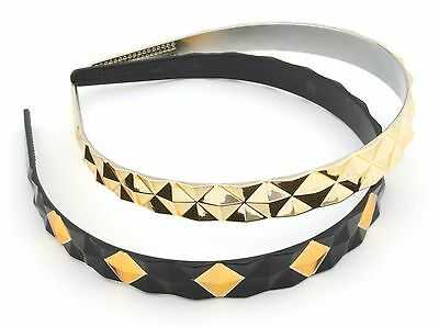 Zest 2 Stud Pyramid Pattern Alice Band Hair Accessories Gold & Black