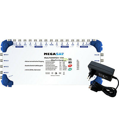 Megasat Multiswitch 17/8 Satellite Multiswitch Distribution 17 Inputs 8 Outlets