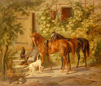 Free shipping Oil painting animals horses and dogs Hounds Prey in spring view