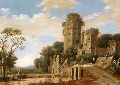 Oil painting great buildings old castle in landscape & bridge brook no framed