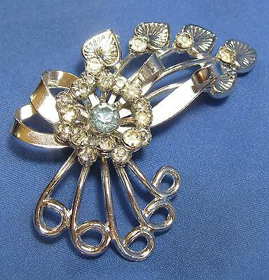 Vintage Light Blue White Rhinestone Flower Heart Ribbon Silvertone Pin Brooch