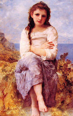 """Beautiful Oil painting Bouguereau - Young girl seated in landscape by sea 36"""""""