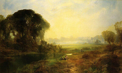 Large Oil painting Thomas Moran - Windsor Castle with people by sunset river 36""