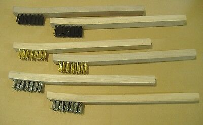 Lot Of Six Detail Brushes Brass, Stainless Steel & Nylon  Parts Cleaning Wood