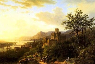 No framed Oil painting sunset landscape Travellers on a Path by river castle