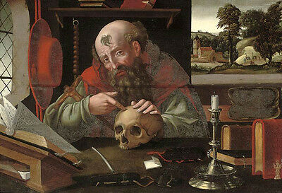 Perfect Oil painting elder portrait Saint Jerome in his study & skull no framed