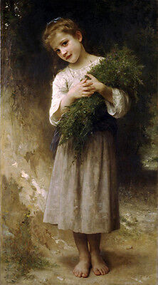 """Oil painting Bouguereau beautiful young girl with grass in landscape canvas 36"""""""
