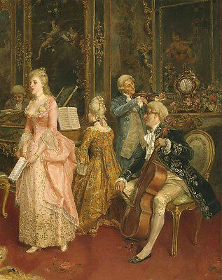 """Oil painting Court choir young girl singing with Pianist Violist Fiddler 36""""X48"""""""