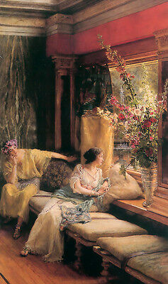 Oil painting Sir Lawrence Alma-Tadema - Female portrait Vain Courtship on canvas