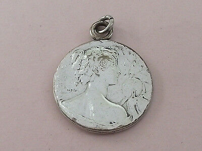 Antique Art Nouveau Silver Plated Charles Pillet Pendant 1910