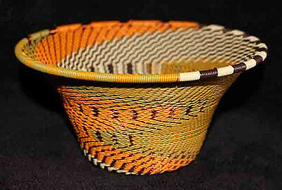 Bright Sunflower - Handmade African Zulu Telephone Wire Cone Basket Bowl MED