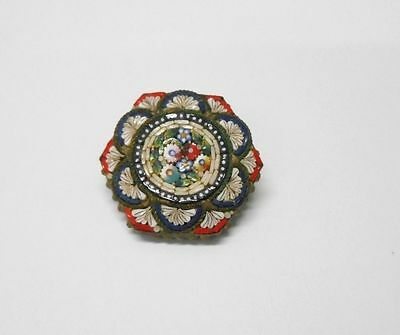 Stunning Vintage Antique Micro Mosaic Floral Italian Beaded Pin Brooch **