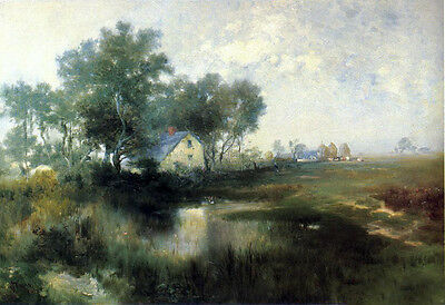 Huge Oil painting Thomas Moran - Misty Morning with houses village in landscape