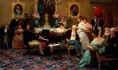 Perfect Oil painting portraits Family Concert young Pianist playing piano canvas