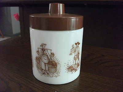 "ECHT OPALINE #16 White Milk Glass Jar with top 5"" - Peasant characters"