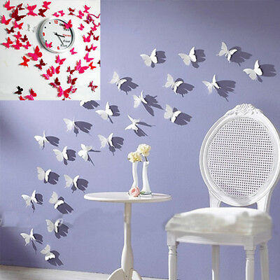 12Pcs 3D DIY Wall Sticker Stickers Butterfly Home Decor Room Decorations TDCA