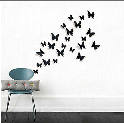 12pcs 3D Butterfly Wall Stickers home room Docors Art / DIY Decorations Paper