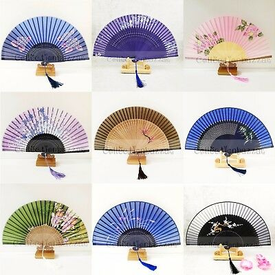 Chinese/Japanese Bamboo Silk Pocket Hand Fan for Wedding /Christmas Gift