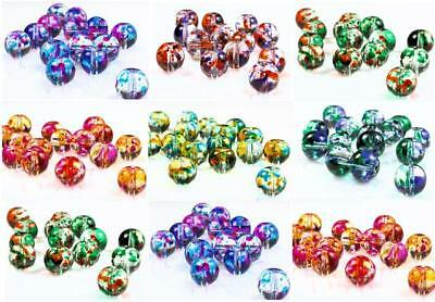 STIPPLED DRAWBENCH GLASS BEADS choose 4mm 6mm 8mm COLOUR CHOICE