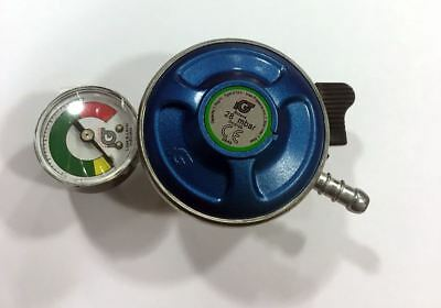 Butane Gas Regulator Push Fit Leak & Level Gauge Manometer 21mm Clip On BBQ