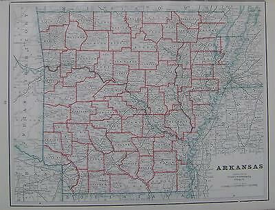 1895 Arkansas Used Original Antique Atlas Map^ 125 years-old!!