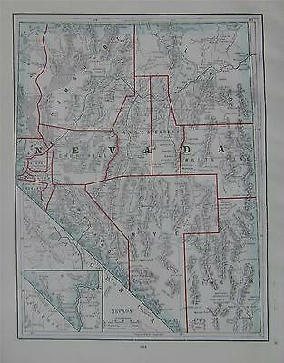 1895 Nevada Original Atlas Map^  Reserves, Area & Population .. 119 years-old!