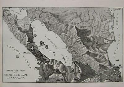 1901 Birds Eye View of Nicaragua Maritime Canal Original Print ...113 years old!