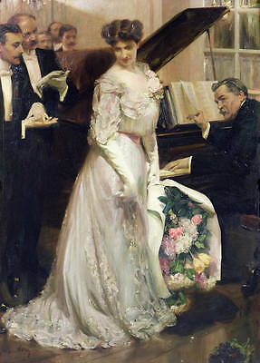 Art oil painting nice young lady holding Bouquet At the ball with pianist canvas
