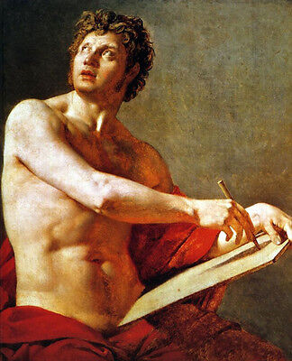 Huge art Oil painting Ingres - Academic Study of a Male Torse - nude strong man