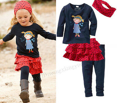 Lovely Kids Baby Girls Clothing Skirt + Top + Leggings + Headband Outfit 0-5Y
