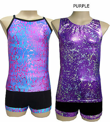 Size 5,6,8,10,12 - Singlet Top/Shorts Set - Leotard Gymnastic Dance