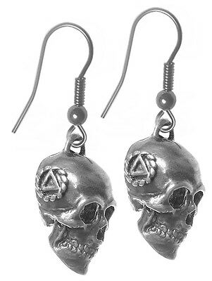 AA Alcoholics Anonymous Memento Mori Earrings, #1033 Med. Size, Sterling Silver