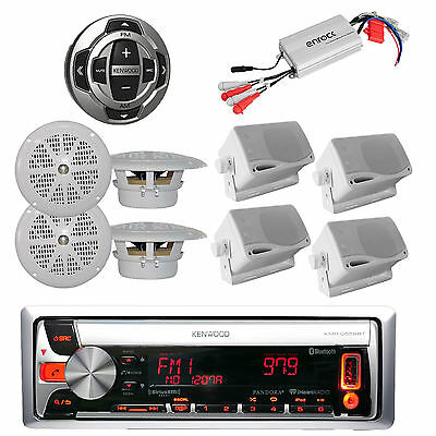 New KMRD562BT Marine CD/USB iPod Stereo 8 White Speakers, 800W Amp+ Wired Remote