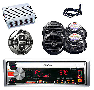 KMRD562BT Boat iPhone CD USB Radio, 4 X Speakers Antenna Wired Remote+ 400W Amp