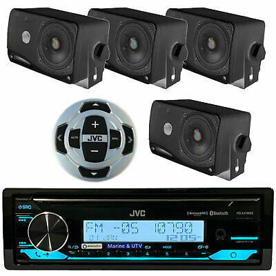 New Kenwood Marine USB CD Bluetooth Stereo Receiver,Wired Remote+ 4 Box Speakers