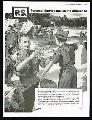 1957 Boy Scouts Troop Camping Leader Aetna Insurance Vintage Print Ad