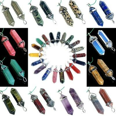 45 choices Gemstone Rock Crystal healing point chakra Reiki pendant bead 40mm