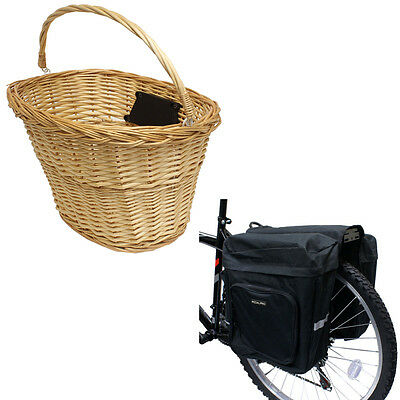Pedalpro Bike/bicycle Quick Release Wicker Basket & Doubler Rear Pannier Bag