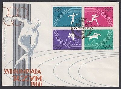 POLAND, 1960. First Day Cover 917a,921a, Rome Olympics