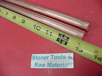 """2 Pieces 1/2"""" C110 COPPER ROUND ROD 13"""" long H04 Solid CU New Lathe Bar Stock"""