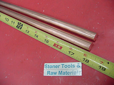 """2 Pieces 1/2"""" C110 COPPER ROUND ROD 18"""" long H04 Solid CU New Lathe Bar Stock"""