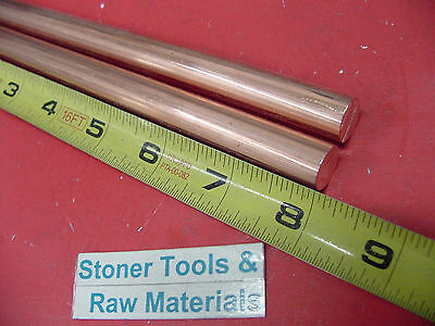 """2 Pieces 1/2"""" C110 COPPER ROUND ROD 8"""" long H04 Solid CU New Lathe Bar Stock"""